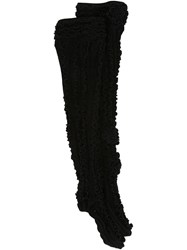 Ryan Lo Thigh High Ruffle Rib Socks Black