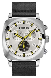 Versus By Versace 'Riverdale' Chronograph Canvas Strap Watch 40Mm Black Silver Yellow
