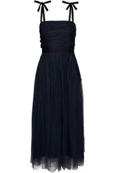 Sandro Bishop Satin Trimmed Ruched Tulle Midi Dress Navy