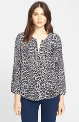 Joie 'Purine' Animal Print Silk Blouse Vanilla Caviar