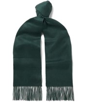 Johnstons Of Elgin Fringed Cashmere Scarf Green
