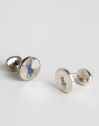 Polo Ralph Lauren Player Cufflinks Silver Blue