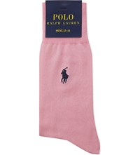 Polo Ralph Lauren Fil D'ecosse Cotton Embroidered Socks Baby Pink