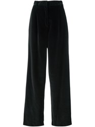Dusan Wide Legged Velvet Trousers Black