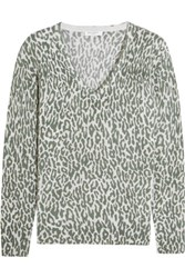 Equipment Cecile Leopard Print Cashmere Sweater Army Green
