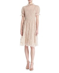 Valentino Short Sleeve Mohair Embroidered Dress Light Pink