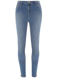 Dorothy Perkins Tall Mid Wash Zip Skinny Jeans Blue