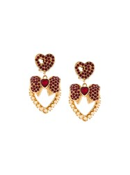 Dolce And Gabbana Heart Bow Earrings Metallic