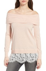 Chelsea 28 Women's Chelsea28 Lace Off The Shoulder Sweater Pink Peach Combo