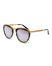 Smoke X Mirrors Comic Strip Monochromatic Square Sunglasses Dark Horn Gold Dk Horn Gold