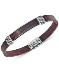 Esquire Men's Jewelry Red Tiger Eye 45 X 15Mm Brown Leather Bracelet In Sterling Silver Only At Macy's