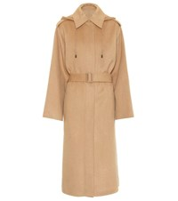 Joseph Carbon Double Wool And Cashmere Coat Beige