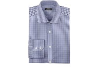 Fairfax Men's Checked Cotton Twill Dress Shirt White Navy Blue
