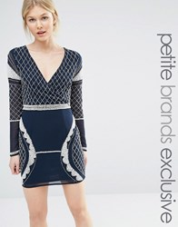 Maya Petite Long Sleeve Plunge Mini Dress With Patterned Beaded Embellishment Navy