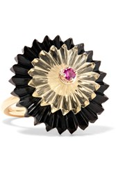 Alice Cicolini Summer Snow Dark 9 Karat Gold Multi Stone Ring