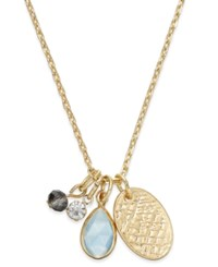 Macy's Inspired Life Gold Tone Multi Charm Stone Pendant Necklace Blue