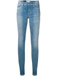 Cambio Mid Rise Skinny Jeans Blue