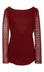 Oday Shakar Beaded Cowl Back Blouse Red