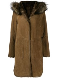 Yves Salomon Trimmed Hood Textured Coat Brown
