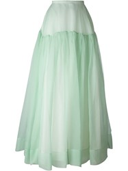 Rochas Ruched Panel Tonal Full Skirt Green