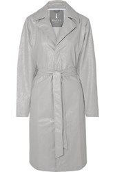 Rains Belted Cracked Pu Trench Coat Silver