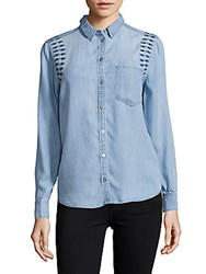 Saks Fifth Avenue Ayla Long Sleeve Embroidered Denim Shirt Light Blue