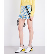 Marques Almeida Floral Embroidered Tulle And Lace Mini Skirt Gold Blue