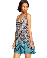 Angie Juniors' Printed Trapeze Dress Black White Blue