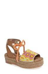 Sam Edelman Women's Neera Espadrille Platform Sandal Saddle Leather