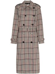 Stella Mccartney Pleated Check Trench Coat Brown