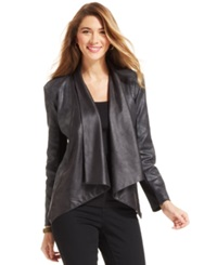 Style And Co. Petite Coated Pleather Trim Jacket Deep Black