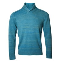 Lords Of Harlech Sweet Shawl Neck Sweater In Teal Blue Green