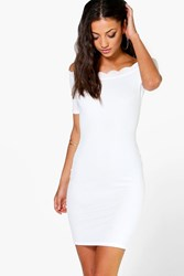 Boohoo Adria Scallop Off The Shoulder Textured Dress Cream