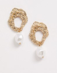 Ny Lon Nylon Molten Gold And Pearl Drop Down Earrings