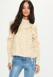 Missguided Nude High Neck Lace Up Frill Burnout Blouse