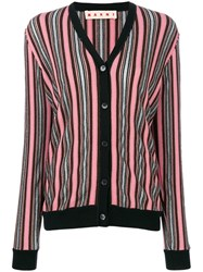 Marni Long Sleeved Striped Cardigan Women Nylon Polyester Acetate Virgin Wool 42 Pink Purple
