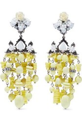 Dannijo Lionel Silver Plated Bead And Crystal Clip Earrings Yellow