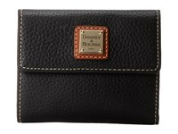 Dooney And Bourke Pebble Leather New Slgs Small Flap Credit Card Wallet Black W Tan Trim Wallet Handbags