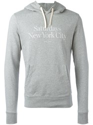 Saturdays Surf Nyc Ditch Miller Standard Hooded Sweatshirt Men Cotton L Grey