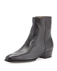 Leather Side Zip Ankle Boot Black Gravati
