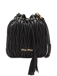 Miu Miu Small Matelasse Leather Bucket Bag Black