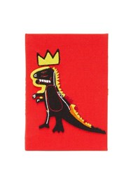 Olympia Le Tan Basquiat Dinosaur Embroidered Canvas Book Clutch Red Multi