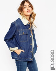 Asos Tall Denim Jacket In Rich Blue With Borg Lining And Collar