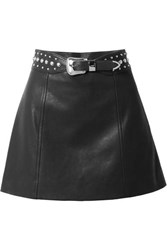 Miu Miu Belted Studded Leather Mini Skirt Black