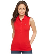 Lacoste Sleeveless Stretch Mini Pique Polo Red Women's Clothing