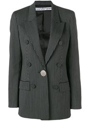 Alexander Wang Striped Double Breasted Blazer Black