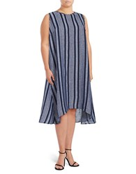 Lord And Taylor Plus Striped Sleeveless Linen Dress Morning Sky