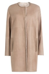 Yves Salomon Reversible Sheepskin Coat Beige
