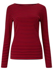 John Lewis Boat Neck Long Sleeve Stripe T Shirt Red Navy Red Navy