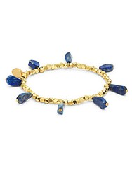 Mhart Lapiz Lazuli And 18K Gold Stretch Bracelet Yellow